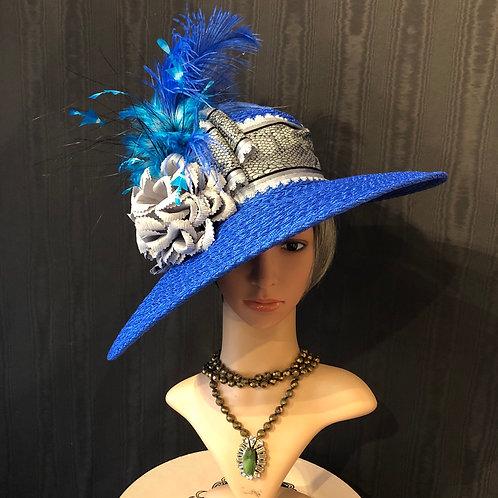 Cobalt braid straw Bonnet with snake ribbon