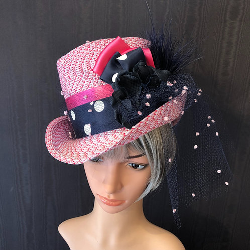 Pink Rio Straw Rider with Navy