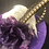 Thumbnail: Royal purple straw 7 inch with feathers