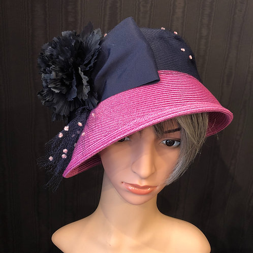Fuchsia Pink Straw Cloche with Navy
