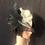 Thumbnail: Black and white Sinamay fan fascinator