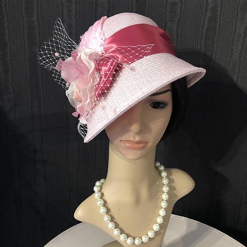 Light pink straw cloche with chiffon
