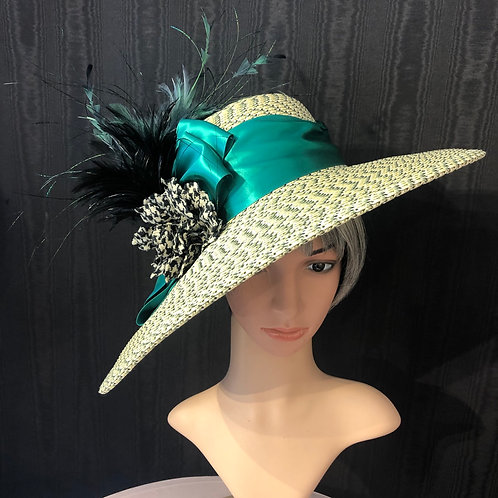 Spring green Rio straw bonnet with emerald