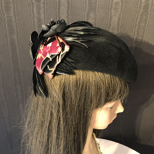 Black fur felt Scottie with art deco ribbon