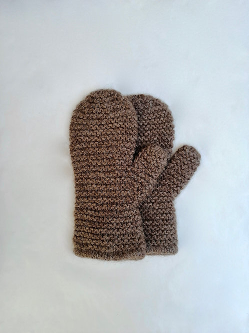 ALPACA COSY MITTENS - BROWN