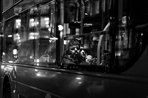 In the Bus (London) -monochrome