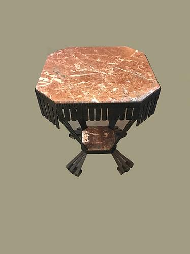 Gietijzeren tafel met marmer blad (BIEDEN VANAF)