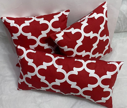 16 in. Red and White Fynn Lipstick Pillow Set