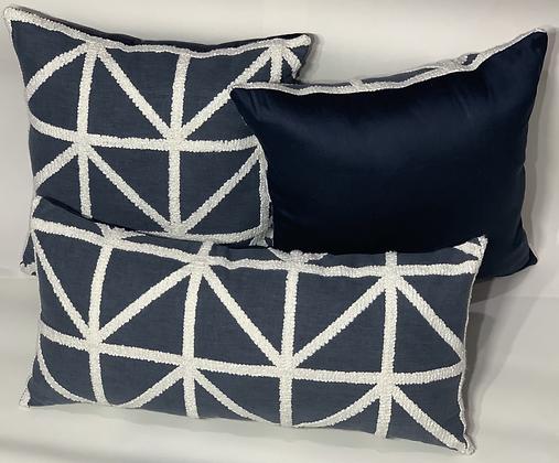 Port of Call Embroidery Indigo Pillow Set