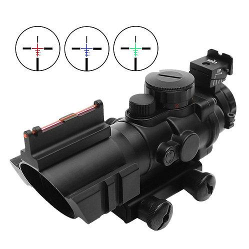 Sutekus TA31タイプ 4倍率スコープ サイドレール付き 3カラーレティクル発光 (ブラック)