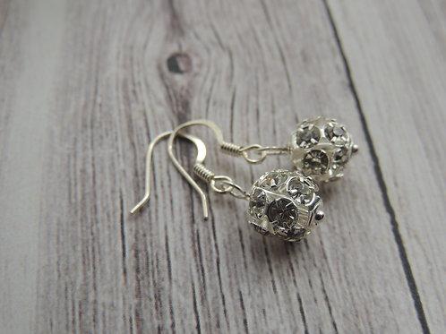 Silver plated silver diamonte earrings