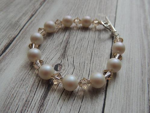 Pale Pink Swarovksi Pearl Sterling Silver Bracelet