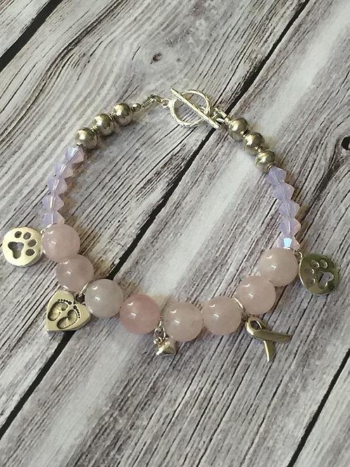 Rose Quartz, Swarovski Crystal and Sterling Silver charm bracelet