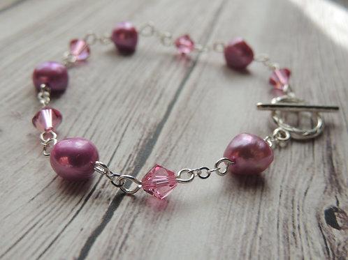 Pink Pearl and Swarovski Crystal Sterling Silver Bracelet