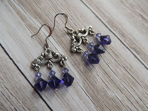 Boho Swarovski crystal earrings