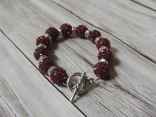 Red Diamonte Christmas Bracelet