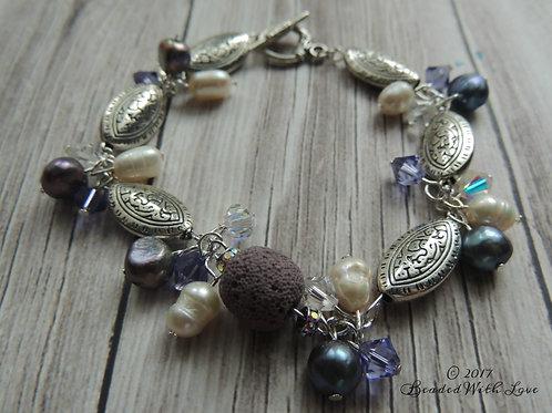 Purple Celtic themed aromatherapy bracelet