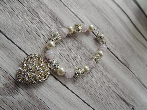 Pink bead, Swarovski pearl and diamonte bracelet