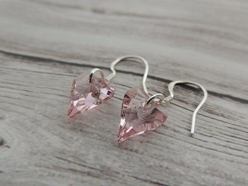 Sterling Silver Pink Swarovski Crystal Heart Earrings