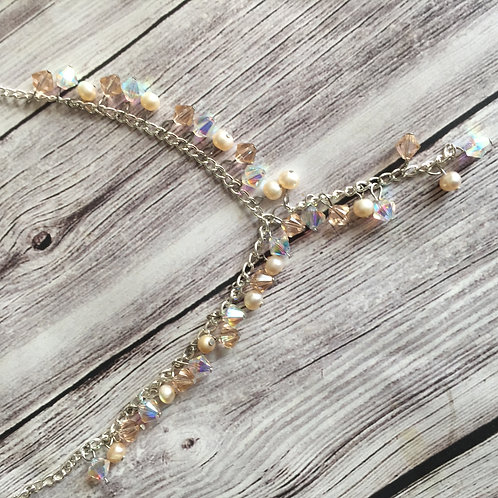 Swarovski Crystal and Pearl Cluster Necklace
