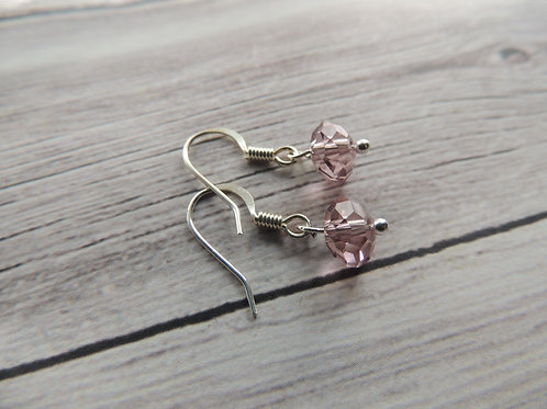 Silver plated pink faceted crystal earrings
