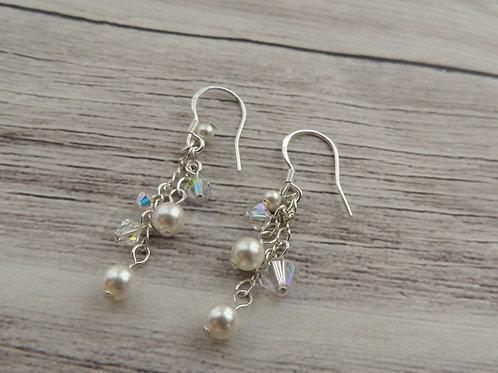 Swarovski crystal and pearl sterling silver earrings