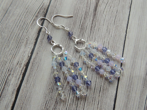 "Sterling Silver and Swarovski Crystal ""Purple Waterfall"" Earrings"