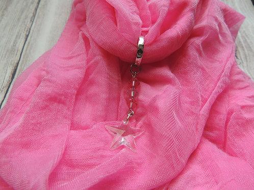 Pink Infinity Scarf with Swarovski crystal star charm