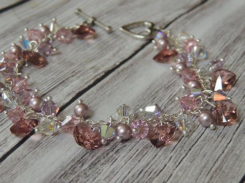 Pink Swarovski Crystal Heart Bracelet