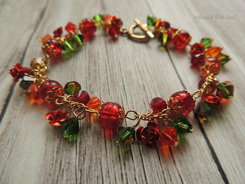 """""""Rose Garden"""" Red and Green Swarovski crystal gold plated bracelet"""