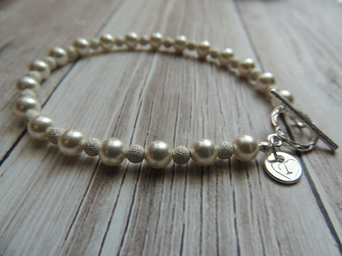 Pearl and Stardust bead sterling charm bracelet