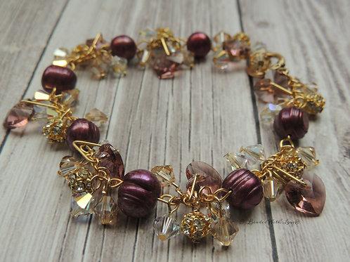 Dyed Freshwater Pearl and Swarovski crystal bracelet