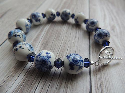 Blue and White porcelain beaded bracelet