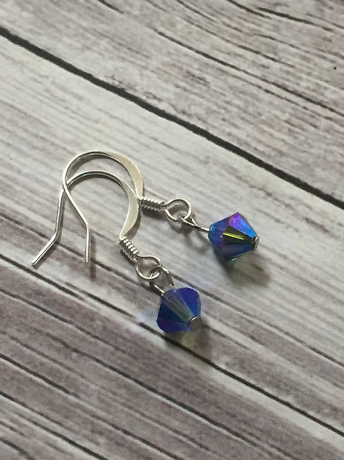 Sapphire Swarovski Crystal Drop Earrings