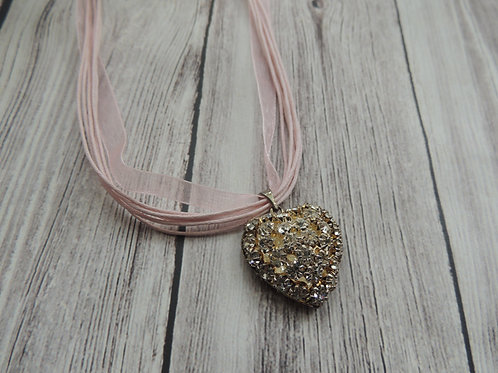 Silver Plated Diamonte Heart Necklace
