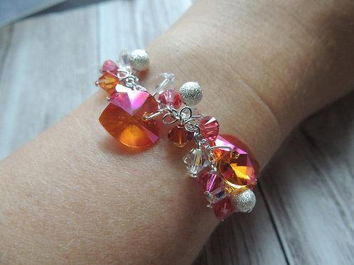 Orange and Pink Swarovski crystal bracelet