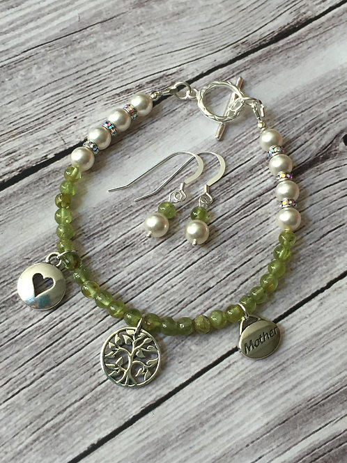 Peridot and Swarovski Pearl Sterling Silver Bracelet Set