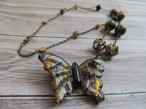 Gold and Green Glass Butterfly Necklace