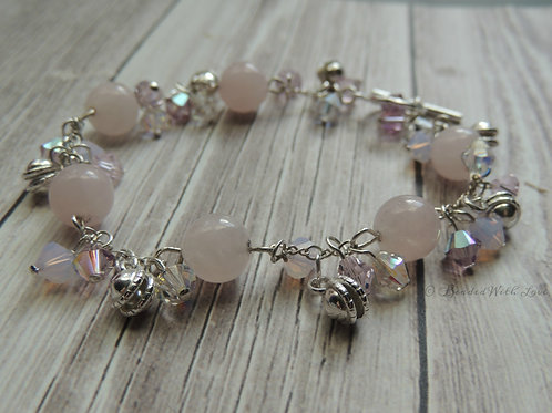 Rose Quartz and Swarovski crystal sterling silver bracelet