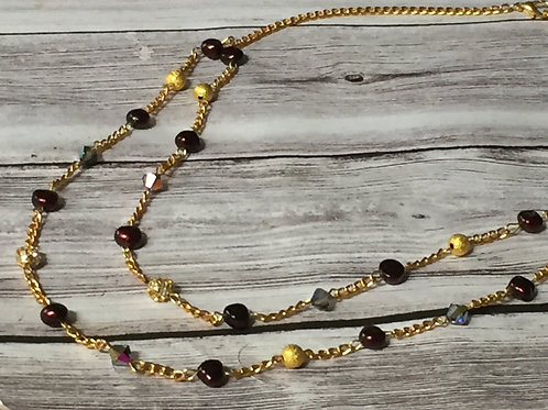 Burgundy Double Stranded Pearl Necklace