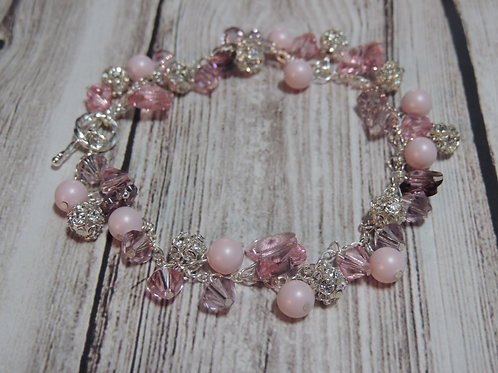 Pink Swarovski pearl, Swarovski crystal and butterfly bracelet