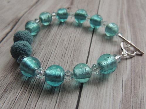 Sterling silver aqua lava stone bracelet