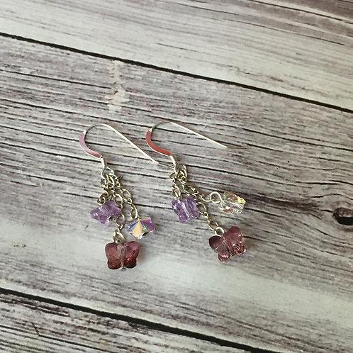 Sterling Silver Swarovski Crystal Butterfly Earrings