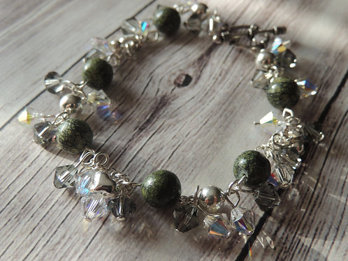 Green Russian Serpentine and Sterling Silver Bracelet