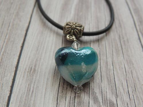 Aqua and White Glass Heart Pendant necklace