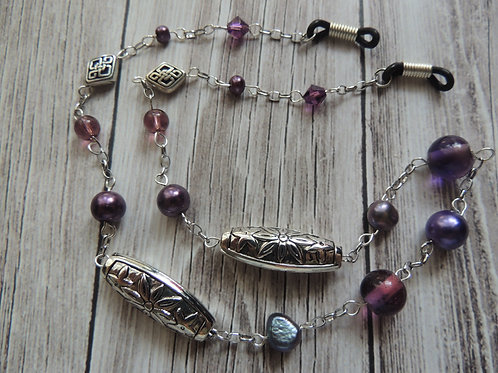 Purple and Silver Glasses Chain