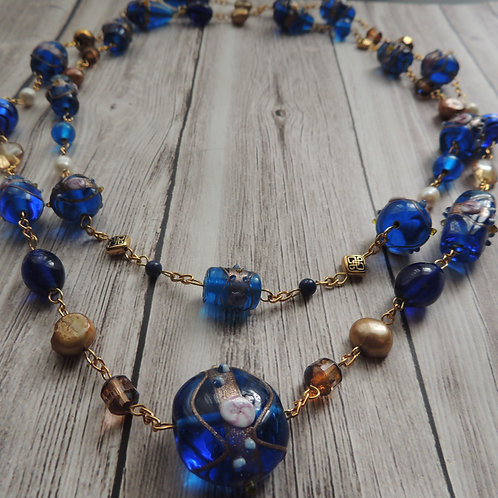 Blue and Gold Pearl Opera Necklace