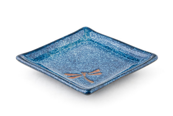 "Dragonfly Blue Square Plate (5"")"