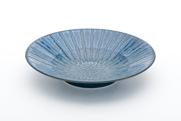 "Radial Blue Shallow Bowl (9.5"" x 2"")"