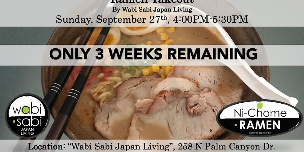 Ramen Takeout – Sun, 9/27, 4:00PM-5:30PM @ Wabi Sabi Japan Living